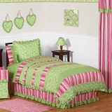 Olivia Pink and Green Girls Bedding - 3 Pc Kids Bedding Full/Queen Set