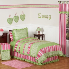 Olivia Pink and Green Girls Bedding - Kids Bedding Twin 4 Piece Set