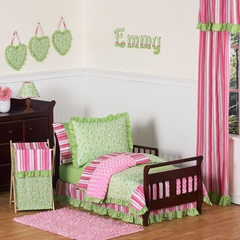 Olivia Pink and Green Girls Bedding - Toddler Bedding Set
