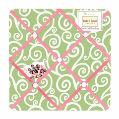 Olivia Pink and Green Scroll Print Fabric Memo Board