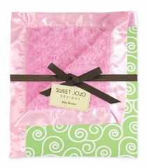 Olivia Pink, Green and White Scroll Minky and Satin Baby Blanket