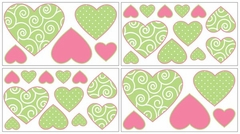 Olivia Pink & Green Scroll Print and Polka Dot Wall Decals