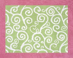 Olivia Scroll Print Pink and Green Floor Rug by Sweet Jojo Designs