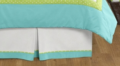 Owl Collection Turquoise and Lime Queen Bed Skirt