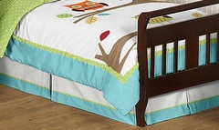 Owl Collection Turquoise and Lime Toddler Bed Skirt