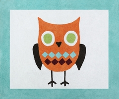 Owl Turquoise and Lime Accent Floor Rug