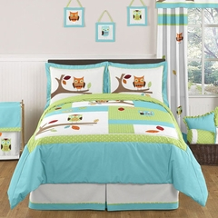 Owl Turquoise and Lime Full/Queen Bedding - 3 Pc Set