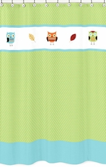 Owl Turquoise and Lime Shower Curtain by Sweet Jojo Designs