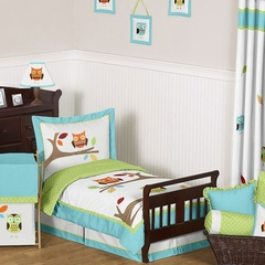 Owl Turquoise and Lime Toddler Bedding Set