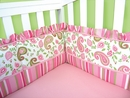 Paisley Park Pink and Green Crib Bumper by Trend Lab