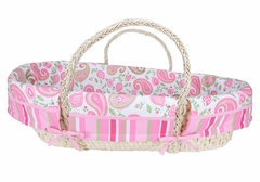 Paisley Park - Pink and Green Paisley Print Moses Basket Set