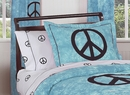 Peace Sign Tie Dye Blue Pillow Sham by Sweet Jojo Designs