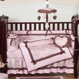 Pink and Brown French Toile Baby Bedding - 9 Piece Crib Set