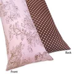 Pink and Brown French Toile Collection Body Pillow Cover