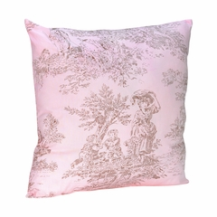 Pink and Brown French Toile Decorative Pillow
