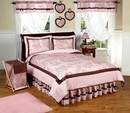Pink and Brown French Toile Kids Bedding - 3 Piece Full/Queen Set
