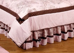Pink and Brown French Toile Kids Bedding Queen Bed Skirt