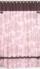 Pink and Brown French Toile Shower Curtain by Sweet Jojo Designs