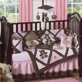 Teddy Bear Baby Crib Bedding Pink and Brown Girls 9 Pc Crib Set