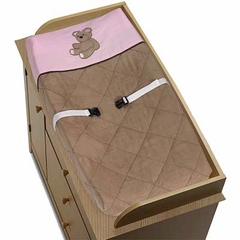 Pink and Brown Teddy Bear Changing Pad Cover By Sweet Jojo Designs