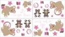 Pink and Brown Teddy Bear Wall Decals by Sweet Jojo Designs