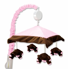 Pink and Chocolate Brown Crib Mobile