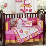 Pink and Orange Butterfly Baby Bedding - 9 Piece Crib Set