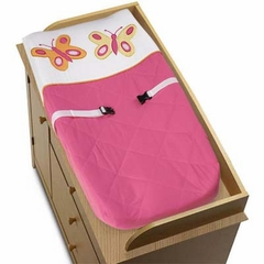 Pink and Orange Butterfly Changing Pad Cover By Sweet Jojo Designs