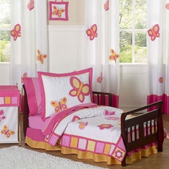 Pink and Orange Butterfly Toddler Bedding Set
