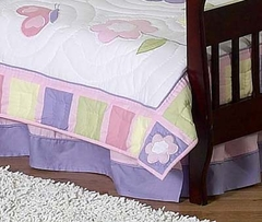 Pink and Purple Butterfly Toddler Bed Skirt by Sweet Jojo Designs