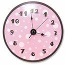 Pink & Brown Dot Clock