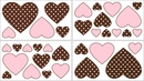 Pink & Brown French Toile Collection Polka Dot Wall Decals