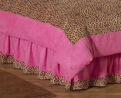 Pink Cheetah Print Queen Bed Skirt by Sweet Jojo Designs