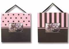 Pink & Chocolate 2 Piece Baby Picture Frame Set