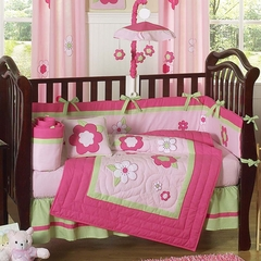 Pink Flower Baby Bedding - 9 Piece Crib Set