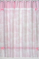 Pink French Toile and Gingham Bathroom Shower Curtain