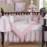 Pink French Toile Baby Bedding - 9 Piece Crib Set