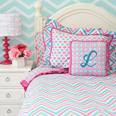 Pink & Turquoise Girls Chevron & Ikat Twin Bedding Duvet Cover