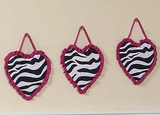 Pink Zebra 3 Piece Wall Hangings By Sweet Jojo Designs