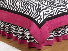 Pink Zebra Kids Bedding Queen Bed Skirt by Sweet Jojo Designs