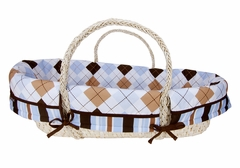 Prep School Blue and Brown Argyle Moses Basket Set