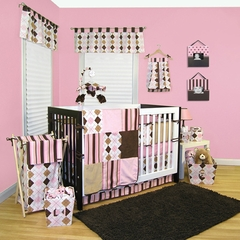 Prep School Pink and Brown Argyle Baby Bedding   - 4 Piece Crib Set