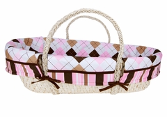 Prep School Pink and Brown Argyle Moses Basket Set