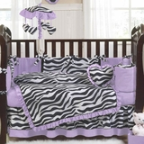 Purple Zebra Baby Bedding - 9 Piece Crib Set