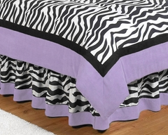 Purple Zebra Kids Bedding Queen Bed Skirt by Sweet Jojo Designs