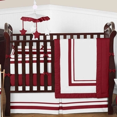 Red and White Modern Hotel Baby Bedding 9 Pc Crib Set