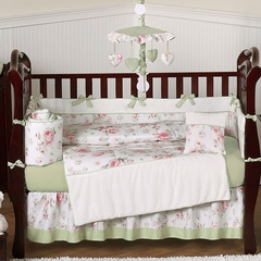 Riley's Roses Floral Shabby Chic Baby Bedding - 9 Piece Crib Set