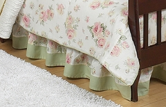 Riley's Roses Shabby Chic Toddler Bed Skirt by Sweet Jojo Designs