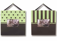 Sage & Chocolate 2 Piece Baby Picture Frame Set