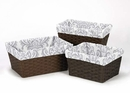Skylar Collection Gray and White Damask Basket Liners